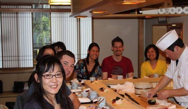 銀座・高級寿司店「神火」でインバウンド寿司教室イベント 寿司の食事会