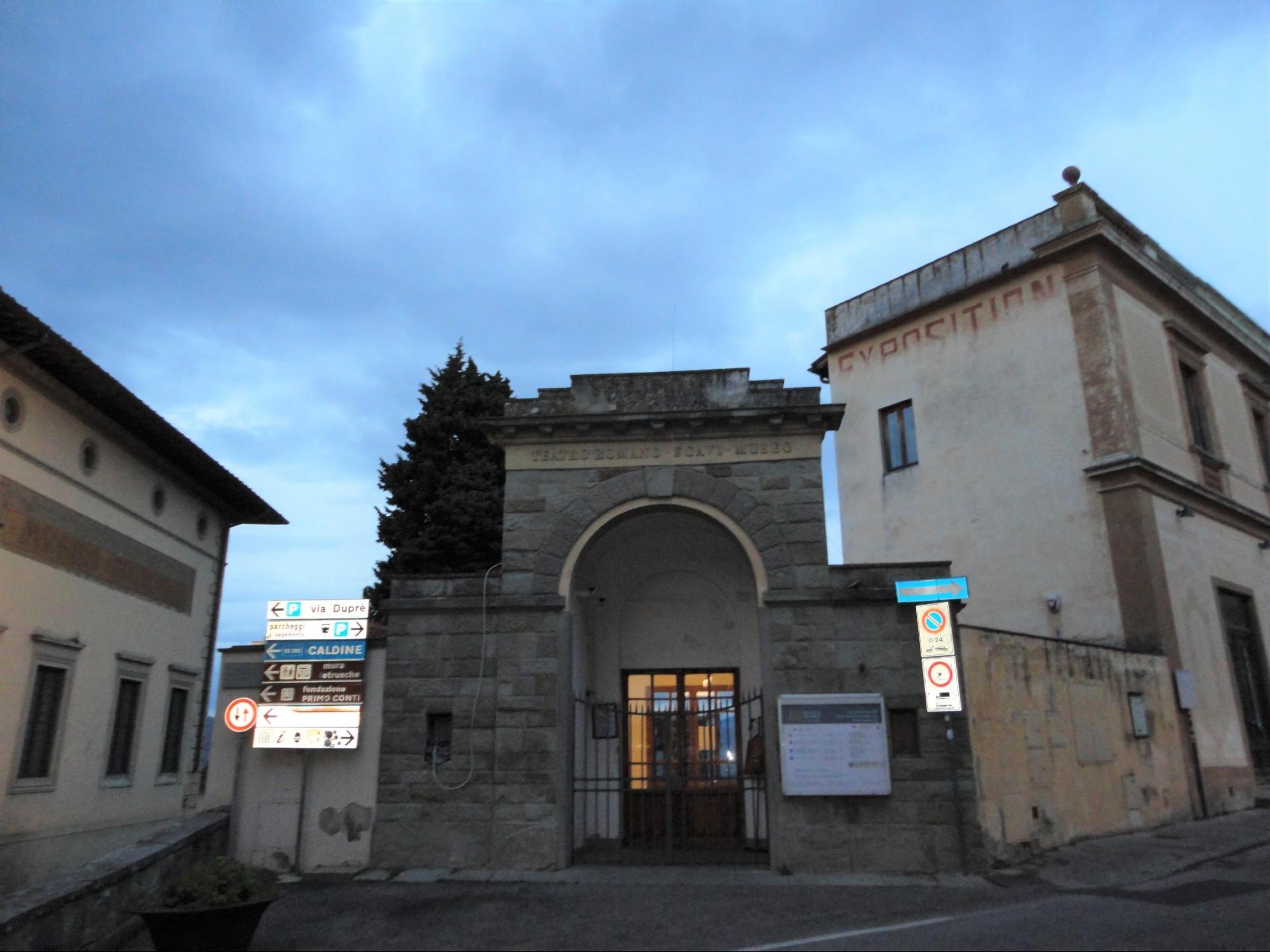 フィエーゾレ・遺跡地区、考古学博物館、バンディーニ美術館 入口 チケット売り場 (筆者撮影)