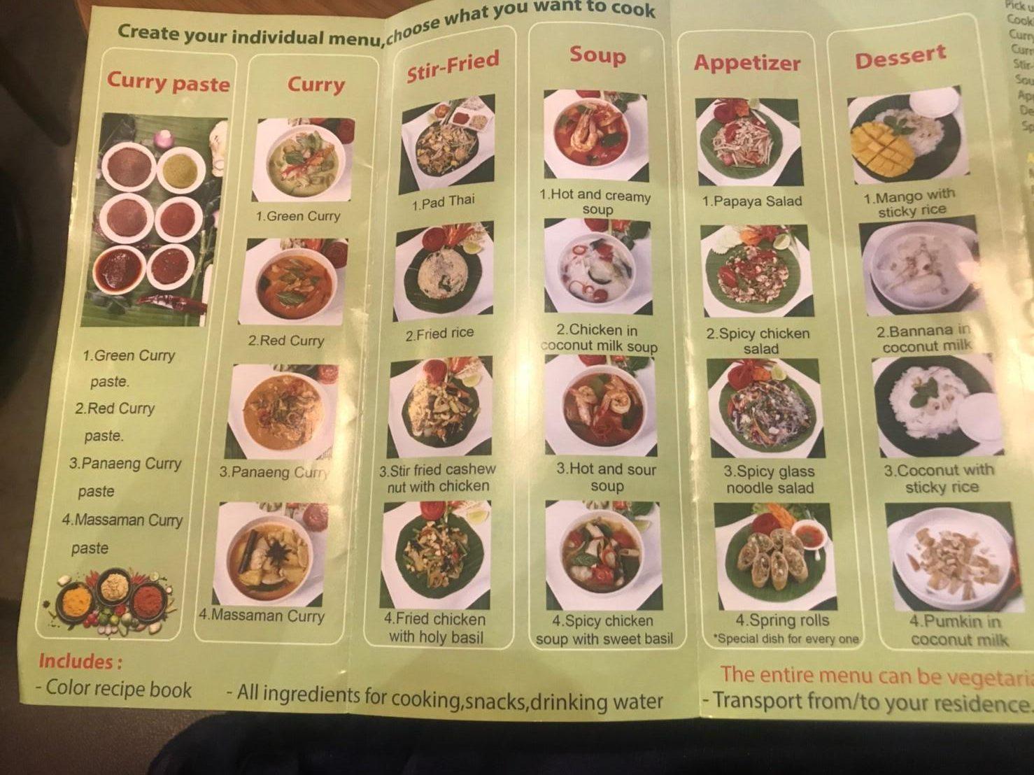 チェンマイの料理教室:選べる料理