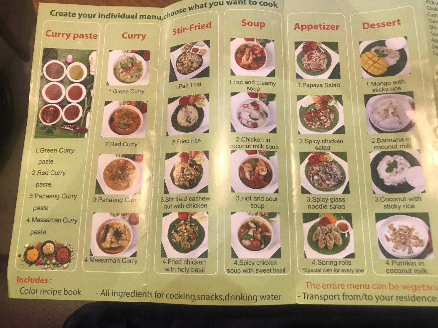 タイ・チェンマイの料理教室/クッキング体験:体験できる料理・メニュー