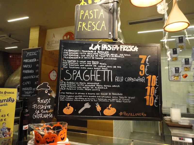 フィレンツェ中央市場・パスタ(La pasta fresca)メニュー