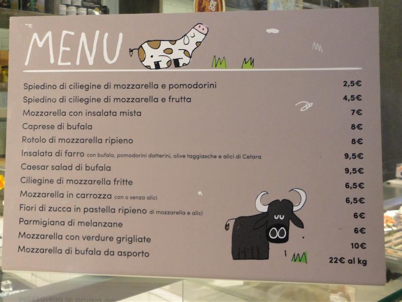 モッツァレラチーズ・Martino Bellincampiのメニュー(フィレンツェ中央市場)