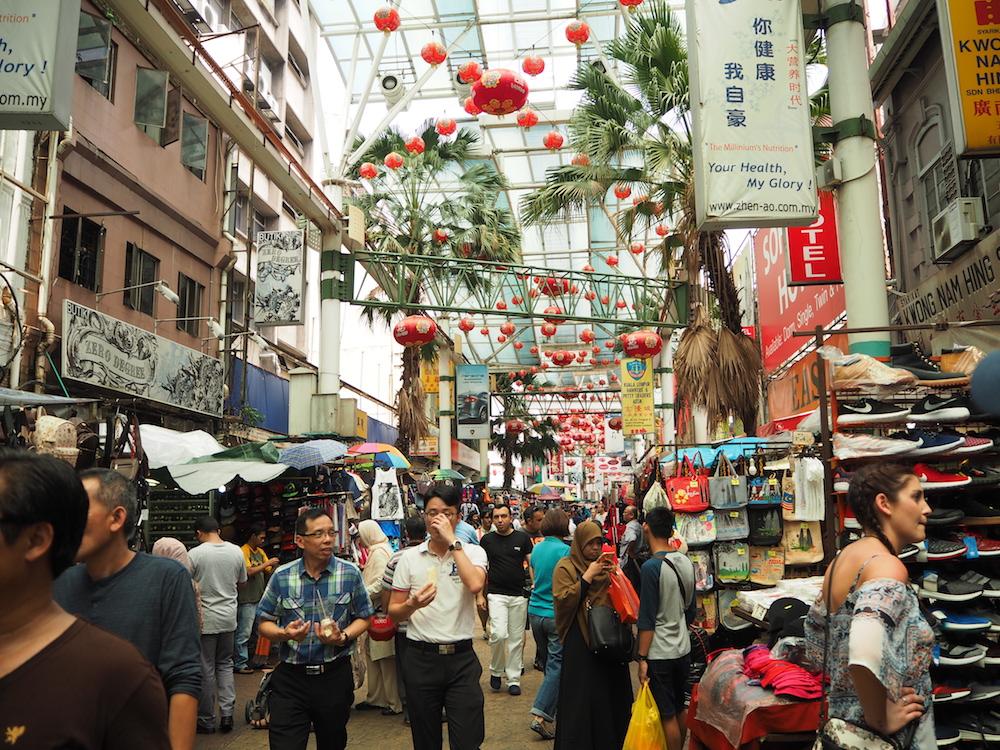 マレーシア・クアラルンプールのグルメ:中華街町並み